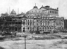 Świetna fotografia przedstawiająca budowę Teatru im. Słowackiego. Fotografia pochodząca ze zbiorów Ignacego Kriegera, wykonana około roku 1891-1893.