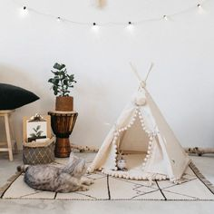 Cat bed with a matching pompom pad dog bed pet teepee pet
