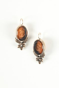 Extasia Amber Intaglio Earrings