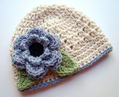 Crochet Baby Hat Girls Cotton Crochet Beanie Hat with by Karenisa, $22.00
