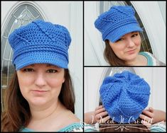 Twisted Newsboy - Free Crochet Hat Pattern · I Need It Crochet Designs Crochet Santa Hat, Crochet Newsboy Hat, Crochet Christmas Hats, Crochet Hats For Boys, Crochet Hat With Brim, Knitted Hats, Front Post Double Crochet, Hat And Scarf Sets, News Boy Hat