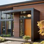 Modern flat roof front door canopy