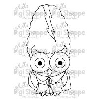 $3.00 Mrs. Frankenstein Owl Digital Stamp from A.J.'s Digi Shoppe™