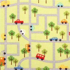 grüner Auto Straßenkarte Flanellstoff Riley Blake USA 2