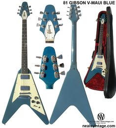 Image detail for -Neal's Vintage Gibson Flying V-Maui Blue Bass Guitar Lessons, Guitar Tips, Archtop Guitar, Acoustic Guitar, Maui, Vintage Les Paul, Gibson Flying V, Gibson Explorer, Signature Guitar