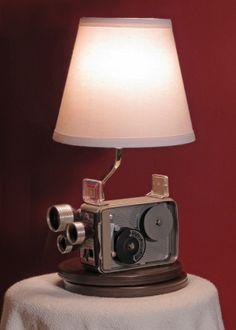 Vintage cine camera lamp #vintage, #repurposed