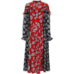 Dodo Bar Or Combo Paisley Mick Midi Dress (€695) ❤ liked on Polyvore featuring dresses, button up dress, red summer dress, summer midi dresses, pleated midi dress and red pleated dress