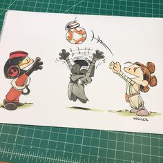 I love these Kesenger Star Wars fan art comics done in the Calvin and Hobbes style. This one has Kylo Ren, Rey, and Poe Dameron playing with Star Wars Comics, Star Wars Cartoon, Star Wars Jokes, Star Wars Fan Art, Star Citizen, Calvin Et Hobbes, Starwars, Manga Anime, Han And Leia