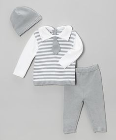 Another great find on #zulily! Gray Stripe Tie Sweater Set - Infant by Tots Fifth Avenue #zulilyfinds