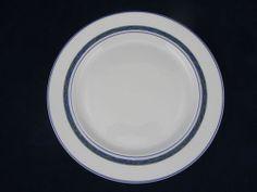 Dansk New Scandia White Salad Plate Raised Lattice Blue Bands Green Detail | eBay