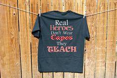 Teacher Chevron Polka Dots tshirt, great for monogramming too! on Etsy, $16.00