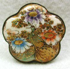 "Antique Satsuma Button Scallop Edge in Brass Setting Peacock & Flowers  7/8"""