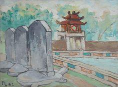 Bui Xuan Phai  Quốc Tử Giám Oil on canvas_Size 30cm x 40cm
