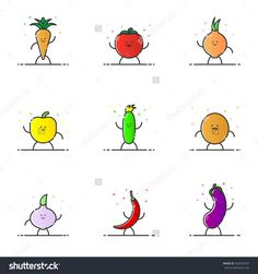 Vector Illustration Of Funny Vegetable Characters Cartoon Set In Line Style. Linear Cute Icons With Face Smile. Flat Design Diet Nutrition For Web And Mobile App Outline Vegan Expression. - 529328545 : Shutterstock