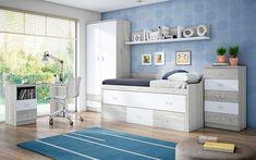 Llega el momento de cambiar la habitación de los más pequeños de la casa, pero no sabemos cual sería la mejore opción ni la decoración para habitaciones juveniles, que mejor se adapte a nuestras necesidades.  Te vamos a dar unos pequeños consejos para que tu habitación sea más acogedora, elegante y funcional. #decor #decoración #habitación #dormitorio #room #bedroom Toddler Bed, Kids Rugs, Furniture, Home Decor, Home, Dream Rooms, Decorating Rooms, Queen Bedroom, Colors