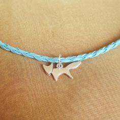 Blue leather cord necklace with a cute little silver fox charm. #blue #leather #cord #necklace #cute #little #silver #fox #charm #summer