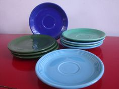 Vintage Fiestaware Plates and Saucers Set of 9 by PlayfullyVintage,