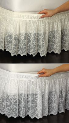 Lace Trimmed Bed Wrap Ruffle Bed Skirt    if I can't use curtains for canopy,use it for this