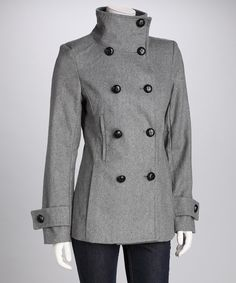 Gray Peacoat by Triple Five on #zulily