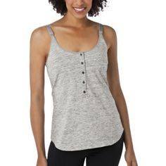 Gilligan & O'Malley Henley Nursing Cami - Assorted Colors / An attached, coordinating underbra with adjustable