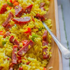 This easy Puerto Rican rice dish with spicy sausage serves six and is ready in less than an hour.