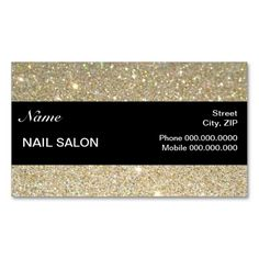 elegant Sparkles and Glitter Nail Salon BusinessCard Business Card Templates. Make your own business card with this great design. All you need is to add your info to this template. Click the image to try it out!