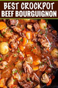 slow cooker halloween recipes Crockpot Beef Bourguignon has melt in your mouth beef and hearty vegetables simmered all day in a rich red wine gravy! The ultimate winter comfort food! Slow cooker, oven, stovetop and instant pot directions! Beef Bourguignon Slow Cooker, Slow Cooker Soup, Slow Cooker Recipes, Cooking Recipes, Beef Soup Recipes, Stewing Steak Recipes, Crockpot Beef Stew Recipe, Recipes Dinner, Crockpot Beefstew