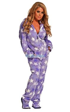 I MAY END UP MAKING THESE AT HOME :) GET A SEWING MACHINE..Fuzzy Chenille footed pajamas are our highest quality fabric. This item is fuzzy inside making it super soft and cuddly. Features: hoodie, Logo zipper, front kangaroo style pockets, left shoulder Iphone pocket. Machine washable. $59.99
