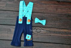 Newborn Photography Set   Fall Upcycled Blue Plaid Overalls With Matching Plaid Bow Tie by ToodleBugCreations, $26.50