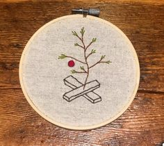 Embroidery Designs Ideas Charlie Brown Christmas Tree hand embroidery by - Christmas Embroidery Patterns, Embroidery Materials, Paper Embroidery, Hand Embroidery Stitches, Silk Ribbon Embroidery, Vintage Embroidery, Embroidery Techniques, Cross Stitch Embroidery, Simple Embroidery