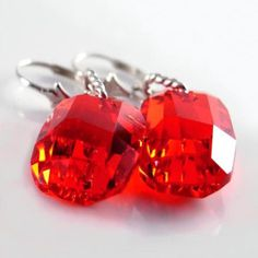 Siam Red Crystal Earrings Sterling Silver Red Swarovski Crystal Earrings Ruby Red Earrings
