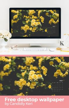 Yellow flower carnations May calendar 2018 wallpaper you can download for free on the blog! For any device; mobile, desktop, iphone, android!