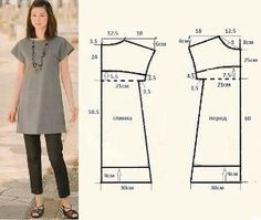 Ideas For Diy Easy Sewing Projects Costura Dress Sewing Patterns, Sewing Patterns Free, Free Sewing, Clothing Patterns, Sewing Tutorials, Free Pattern, Fashion Patterns, Tunic Pattern, Top Pattern
