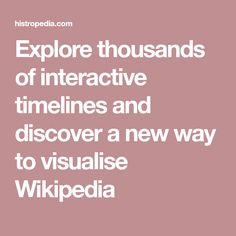 Explore thousands of interactive timelines and discover a new way to visualise Wikipedia Battle Of Moscow, Apollo 9, Mars Science Laboratory, Battle Of Iwo Jima, Giuseppe Arcimboldo, Bobby Darin, Curiosity Rover, Afghanistan War