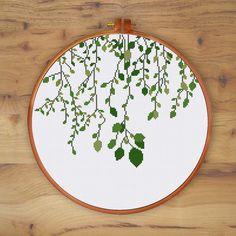 Green Vines cross stitch pattern Modern nature by ThuHaDesign