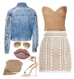 """""""Touch of fab"""" by yasmineings on Polyvore featuring Balmain, Yves Saint Laurent, Lime Crime and Ray-Ban"""