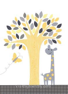 The Giraffe and the Butterfly-Nursery Art Baby Boy Baby Room Art Decor Kids Wall by vtdesigns, $14.00