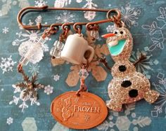 OLAF Brooch Dangle Charm Pin           inspired by Frozen