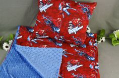 Nap time Blanket and Pillow Set   Toddler and Kids Minky Spiderman Superhero Print Blanket   Personalization Available by 2KrazyLadiesCrafts on Etsy