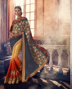 Grey yellow and orange floral embellished shaded sari   1. Grey yellow and orange georgette embellished shaded sari2. Comes with matching unstitched blouse3. Can be stitched up to size 42 inches