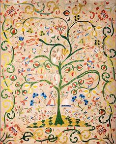 "Castelo Branco Coverlet ""Tree of Life"" | Portuguese 18th century"