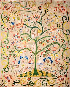 "Castelo Branco Coverlet ""Tree of Life"" 