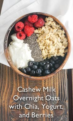 Cashew Milk Overnight Oats with Chia, Yogurt, and Berries - Basically this quick and easy breakfast is just a combination of overnight oats, yogurt, chia seeds, and berries. It's perfect for summer since it's cold and you can customize it any way you like.