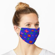 'Balloon Dogs with Polka Dots and Swirls in Blue, Red,Yellow, and Teal' Mask by Whoopsidoodle Summer Patterns, Shape Patterns, Print Patterns, Pattern Print, Pattern Design, Hawaiian Pattern, Flame Design, Blue Mask, Flamingo Pattern