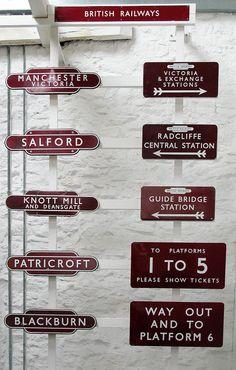 Old railway station signs, via Flickr.