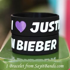 I Love Justin Bieber Fans Brand New One Inch Wristband. $9.98, via Etsy.
