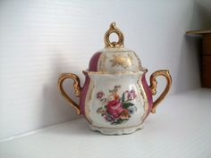 vintage purple and gold sugar bowl . vintage shabby by GTDesigns
