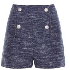Balenciaga Button-front tweed shorts ($770) ❤ liked on Polyvore featuring shorts, bottoms, pants, short, high rise shorts, tweed shorts, balenciaga, blue high waisted shorts and nautical shorts