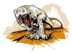 "A highly detailed sketch of the ""albino"" Giganotosaurus from ""Journey to the center of the earth""."