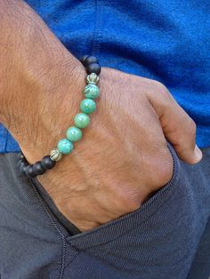 Men's Spiritual Protection Fortune Bracelet with semi
